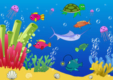 The seafloor of the ocean. The seafloor of the sea. Vector illustration Royalty Free Stock Photography