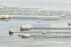 Seafoam在湿沙子的事假足迹 库存图片