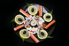 Seafood. Sea salad with lemon Stock Photography