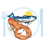 Seafood. Fish, fishing food lobster royalty free illustration