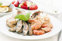 Seafood. Platter with Vegetable and Tzatziki Stock Photo