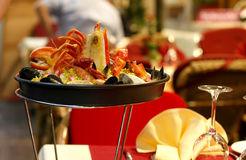 Seafood. Plate arrangement in a restaurant Stock Image