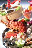Seafood. A plate of raw seafood Royalty Free Stock Photos