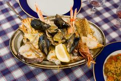 Seafood. With a large variety of , fish and shellfish Royalty Free Stock Photo