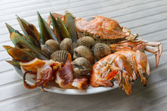 Seafood. Shrimps mussels squid and crab a great taste of seafood on dish Stock Image