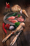 Seafood. Still-life on wooden background Stock Photos