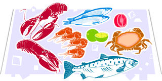 Seafood. The tray with seafood in marketplace or buffet, vector included Stock Images