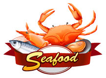 Seafood. All kind of seafood with red banner vector illustration