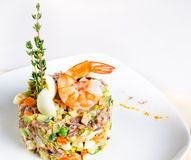 Seafood appetizer with pink prawn Royalty Free Stock Photos