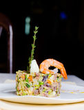 Seafood appetizer with pink prawn Royalty Free Stock Photo