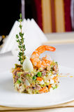 Seafood appetizer with pink prawn Royalty Free Stock Images