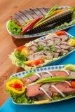Seafood appetizer salads Royalty Free Stock Photos