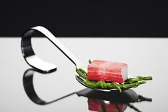 Seafood appetizer spoon Stock Images