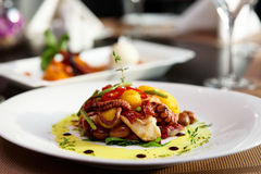 Seafood appetizer on table Royalty Free Stock Image