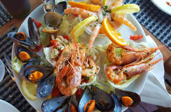 Seafood appetizerwith mussel and prawn Royalty Free Stock Image