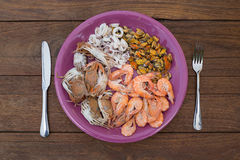 seafood as fresh lobster steamed clams mussels shrimp and crab I Stock Photo