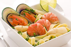Seafood with Asparagus Stock Image