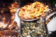 Seafood  assortment on ice at the fish market stall close up. Royalty Free Stock Image