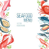 Seafood background vector illustration
