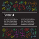Seafood background, vector. Seafood background. Vector flat line illustrations of lobster, crab, salmon, fish, squid, oyster, shrimp, octopus. Seafood banner Royalty Free Stock Image