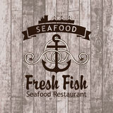 Seafood. Banner with anchor and ship seafood restaurant against the background of wooden planks stock illustration