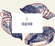 Seafood banner set. Hand drawn salmon fillet. Vector restaurant menu. Marine food banner, flyer design. Engraved. Isolated art. Delicious cuisine objects. Use Stock Photos