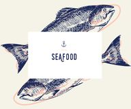 Seafood banner set. Hand drawn tuna fish. Vector restaurant menu. Marine food banner, flyer design. Engraved isolated. Art. Delicious cuisine objects. Use for Royalty Free Stock Photo