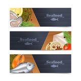 Seafood Banner Set Stock Images