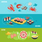 Seafood banner set Royalty Free Stock Photos