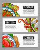 Seafood banner template set. vector illustration