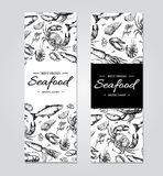 Seafood banner vector template set. Hand drawn illustration. Crab, lobster, shrimp, oyster, mussel,. Caviar and squid. Engraved style Fish and sea food Royalty Free Stock Photos