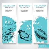 Seafood banner with watercolor blue background and hand drawn food. Sketch fresh shrimp, oyster and mussel shell. restaurant and f. Ish market template. Vector Royalty Free Stock Images