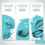Seafood banner with watercolor blue background and hand drawn food. Sketch fresh shrimp, oysters and mussel shell. Restaurant and. Fish market template. Vector Royalty Free Stock Photo