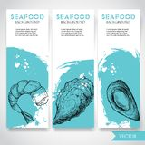 Seafood banner with watercolor blue background and hand drawn food. Sketch prepared shrimp, oyster and mussel shell. Restaurant an. D fish market template Royalty Free Stock Photos