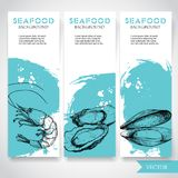 Seafood banner with watercolor blue background and hand drawn food. Sketch prepared shrimp, oysters and mussel shell. Restaurant a. Nd fish market template Royalty Free Stock Photos