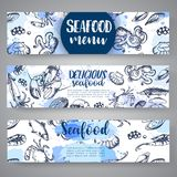 Seafood banners Hand drawn vector illustrations. Lake fish in line art style. Vector sea and ocean creatures for seafood. Seafood banner vector template set Royalty Free Stock Image