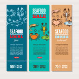 Seafood banners set Stock Photography
