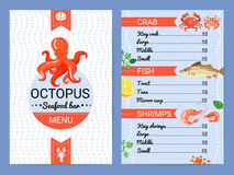Seafood Bar Menu Flat Poster. Octopus seafood restaurant bar menu card with crab fish shrimps dishes flat advertisement poster vector illustration Stock Photography