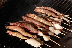 Seafood barbecue Stock Images