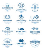 Seafood Barbecue Logos, Labels and Design Elements Stock Images