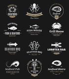 Seafood Barbecue Logos, Labels and Design Elements Stock Photography