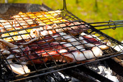 Seafood bbq Royalty Free Stock Images