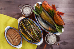 Seafood beer appetizer Royalty Free Stock Photo