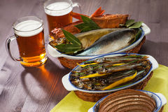 Seafood beer appetizer Royalty Free Stock Photography