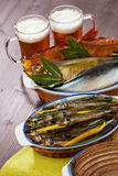 Seafood beer appetizer Stock Photo