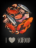 Seafood on black background Stock Photos