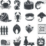 Seafood black icons collection Royalty Free Stock Image