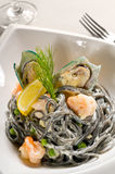 Seafood black spaghetti Royalty Free Stock Image