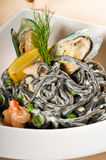 Seafood black spaghetti Royalty Free Stock Photography