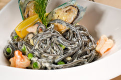 Seafood black spaghetti Stock Photo